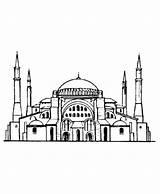 Istanbul Ayasofya Masjid Gambar Mewarnai Hagia Sophia Resim Boyama Coloring Terbaru Resimler Turkey Resimleri Cami Sanat Noruega Camiler Cizim Semoga sketch template