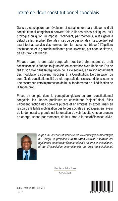 jean louis esambo trait 201 de droit constitutionnel congolais jean louis