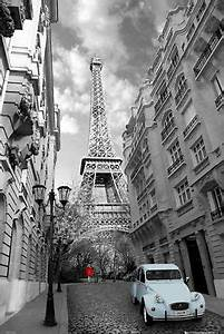 """PARIS POSTER 24""""x36"""" WOMAN IN A RED DRESS EIFFEL TOWER"""
