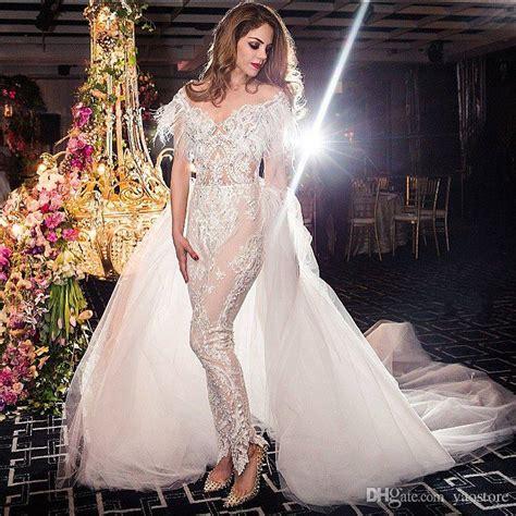 Dis Unt Beaded Appliqued  Ee  Lace Ee   Jumpsuit  Ee  Wedding Ee   Dresses