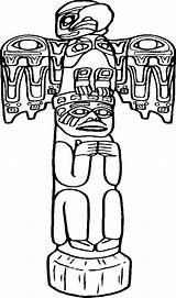 Totem Pole Coloring Poles Native Easy American Pages Drawing Carved Awesome Sheet Tiki Drawings Apache Template Sketch Printable Faces Popular sketch template