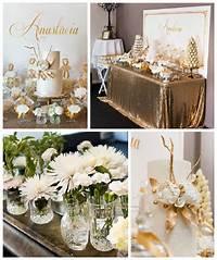 elegant party themes Kara's Party Ideas Elegant Gold + White Baptism Party ...