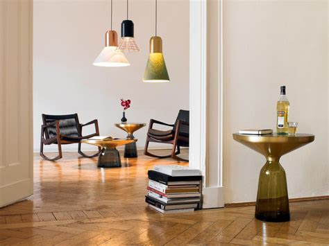 Coffee table is approximately 48 l x 24 w x 20 h end tables are 24x24x24. ClassiCon Bell Coffee Table in Brass and Topaz Yellow by Sebastian Herkner For Sale at 1stdibs