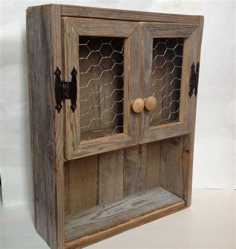 Wire Spice Shelf by Rustic Cabinet Reclaimed Wood Shelf Chicken Wire Decor