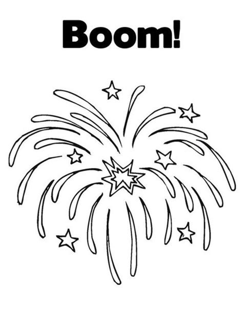 exploding fireworks coloring page  print