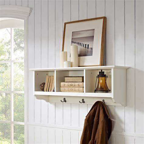 Foyer Shelves by Brennan White Entryway Storage Shelf Crosley Furniture