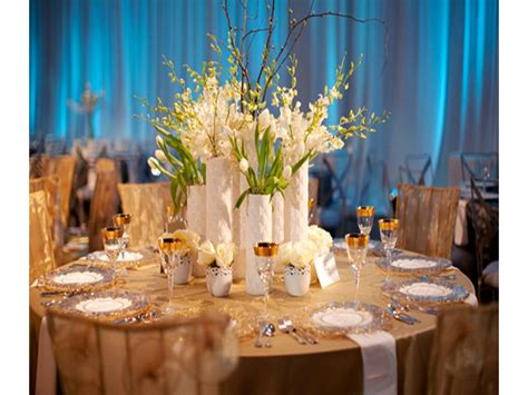 blue  white wedding reception decorations