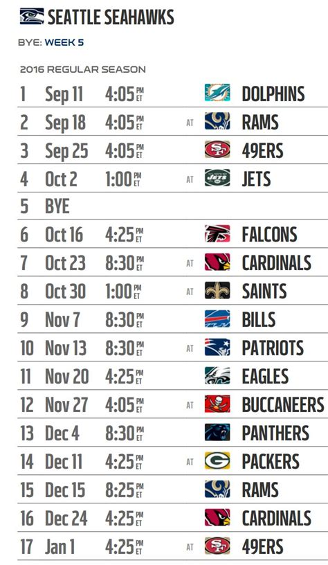 seattle seahawks  nfl schedule released