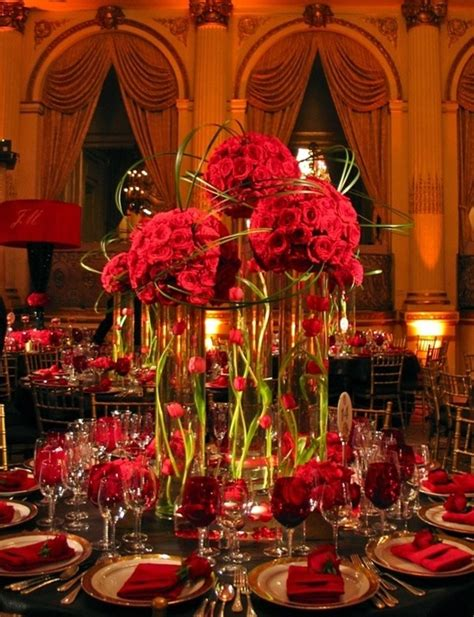 red and gold wedding theme on broadway gay wedding