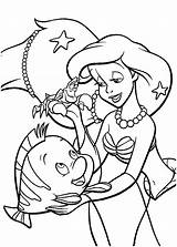 Ariel Mermaid Coloring Pages Little Print Colouring Disney Princess Printables Cartoon Arielle Cartoons sketch template