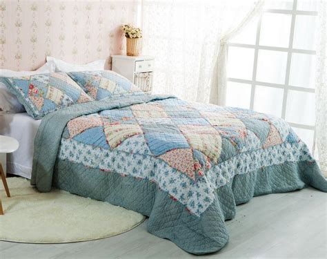 Blue Quilted Bedspread by Country Floral Blue Patchwork Quilted Cotton