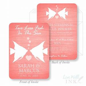 printed wedding invitation two less fish in the sea With 2 sided photo wedding invitations