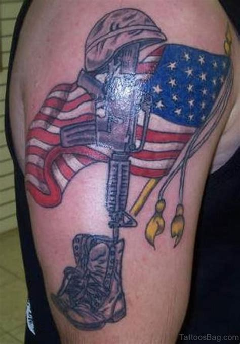 top flag tattoos  shoulder