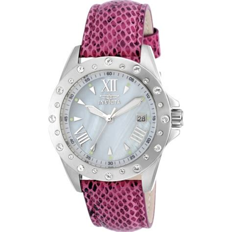invicta ladies angel pink leather strap