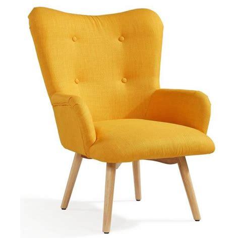iris fauteuil nordique en tissu effet lin jaune achat