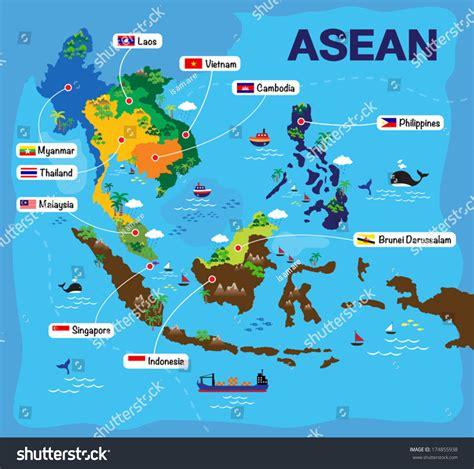 cartoon map asean asian stock vector  shutterstock