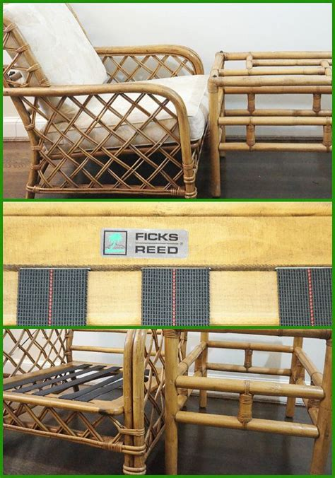 Ficks Reed Chippendale Chairs by O N S A L E Signed Ficks Reed Bamboo Rattan Club Chair