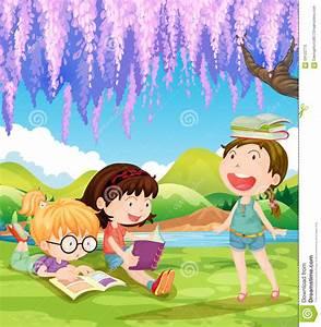 Children Reading Books Under The Tree Stock Vector - Image ...