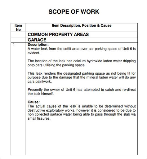 23 Sample Scope Of Work Templates To Download Sample