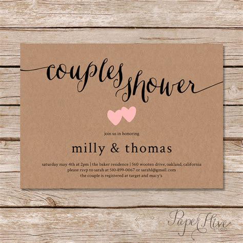 Rustic couples shower invitation / Kraft couples wedding