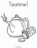 Coloring Teatime Tea Teapot Twistynoodle Printable Crackers Noodle Built California Usa sketch template