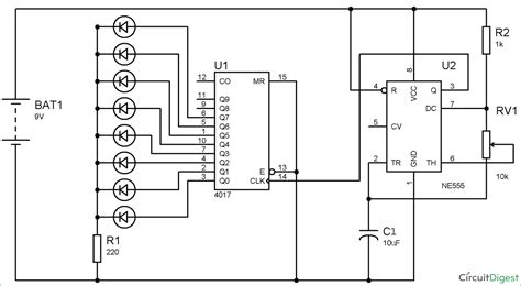 Led Roulette Circuit Diagram Using Timer