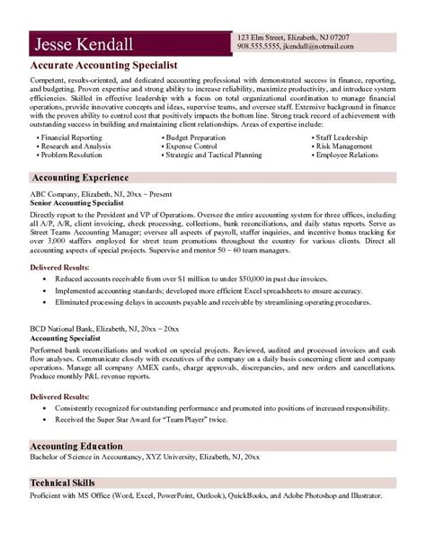 Free Best Resume Format For Accountant by Exle Accounting Specialist Resume Free Sle