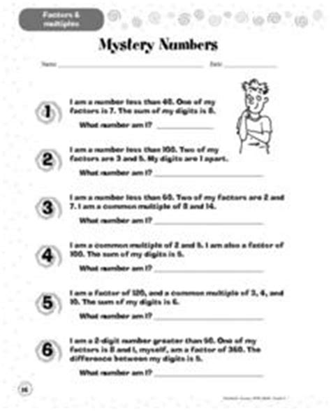 mystery numbers 3rd 4th grade worksheet lesson planet