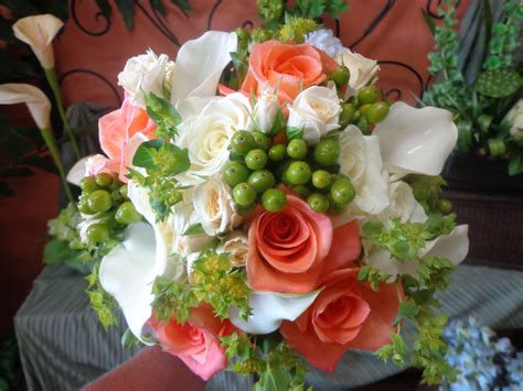 Bridal Bouquet Of White And Coral Roses White Miniature