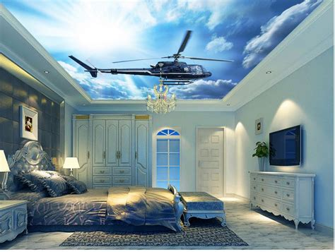 Stereoscopic 3d Wallpaper Blue Sky And Cloud Ceiling Plane