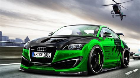 Green cars tuning audi tt rs 3d wallpaper