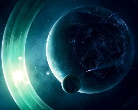 wallpaper alien planet  rings  desktop background
