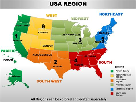 Usa Midwest Region Country Editable Powerpoint Maps With