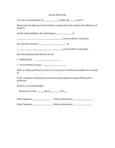 what is a bill of sale form free bicycle bill of sale form pdf word do it