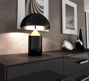 Lampe A Poser : lampe poser atollo noir h70cm oluce luminaires nedgis ~ Nature-et-papiers.com Idées de Décoration