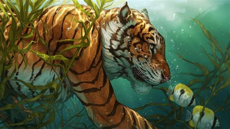 animals artwork tiger fish bubbles underwater