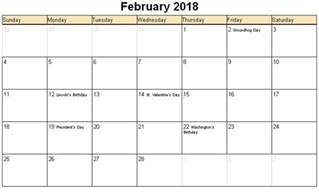 February 2018 Calendar Printable