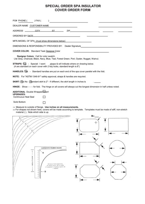 special order spa insulator cover order form printable