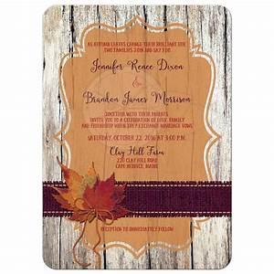 Autumn Wedding Invitation FAUX Wood, Leaves, Burlap, and