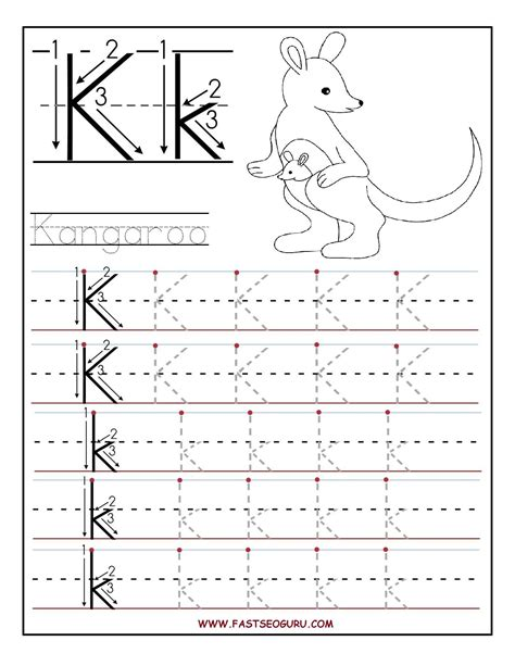 printable letter k tracing worksheets for preschool