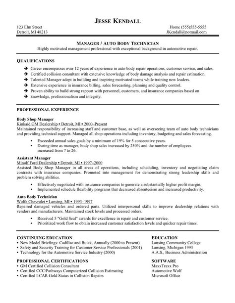service technician automotive resume