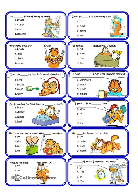 present simple and routine speaking cards