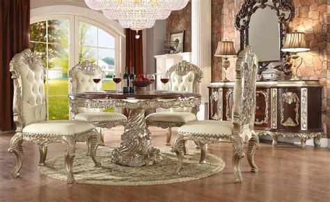 hd antique white finish dining set  table homey