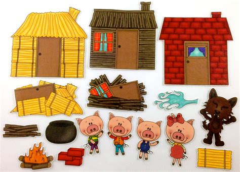 Pencil And In Color Hosue Clipart Three Pig