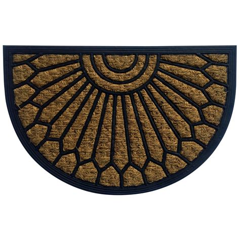 half doormat b q black half moon coir rubber door mat l