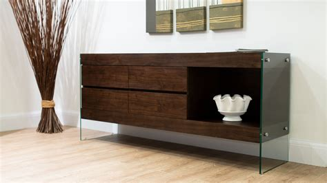 Darkwood Sideboard by Glass And Espresso Wood Sideboard