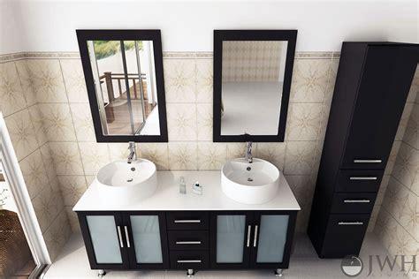 jwh living  lune double sink vanity glass top