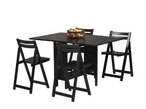 dining room black folding dining table and chairs