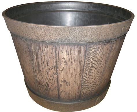 home depot whiskey barrel planters southern patio resin whiskey barrel planter ky walnut