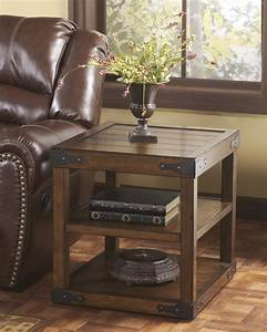 T588-3, Signature, Design, By, Ashley, Shepherdsville, Rectangular, End, Table, Rustic, Brown